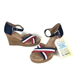 TOMS Strappy Wedge Sandals Charm GOP 6.5 Red Blue